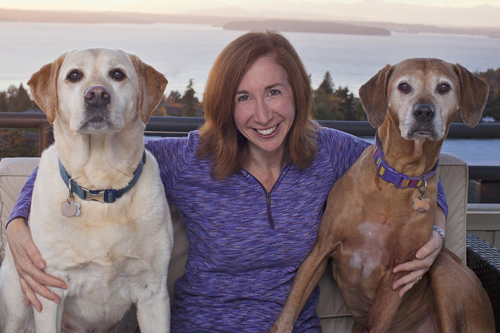 "Laura T. Coffey with her oldies Manny & Frida (Copyright Lori Fusaro / ""My Old Dog"")"