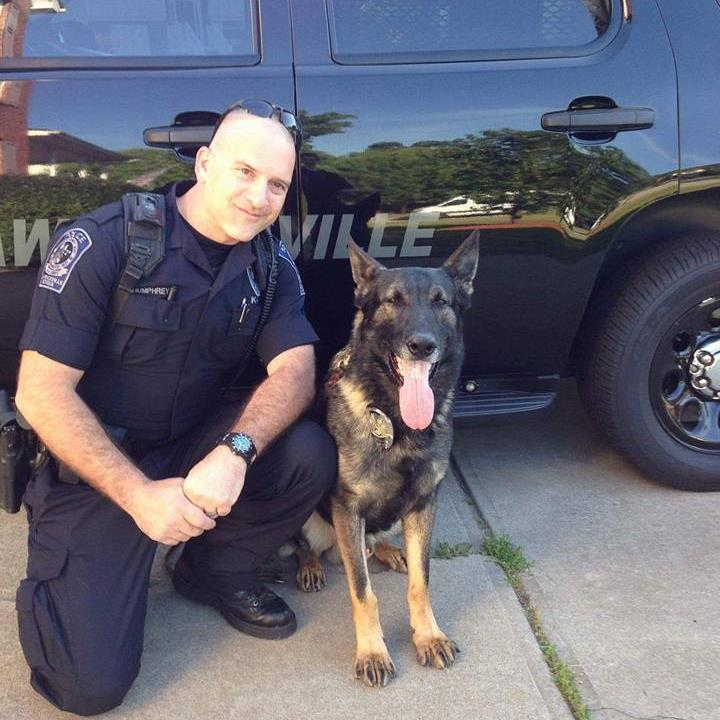 Officer Humphreys with Eiko, his beloved K-9 partner that recently lost his battle with cancer.