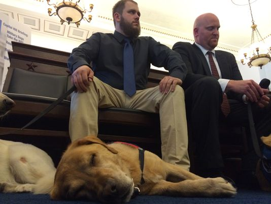 U.S. Marine Corps veteran Sgt. Deano Miller was reunited with his military working dog Thor. The duo took to Capitol Hill Wednesday to urge the military to bring all dogs to the U.S. to retire. (Photo: Natalie DiBlasio)