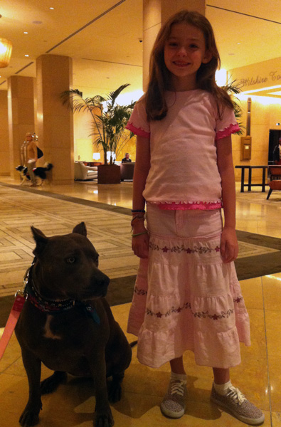 Victoria's daughter, Alex, with the 2013 Hero Dog Award winner - Elle the pit bull. Both will join Victoria to kick off Dog Bite Prevention Week 2014.