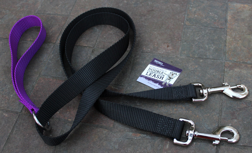 The Positively Double-Connection Leash can be used with the Positively No-Pull Harness or as a standard 5-foot leash.
