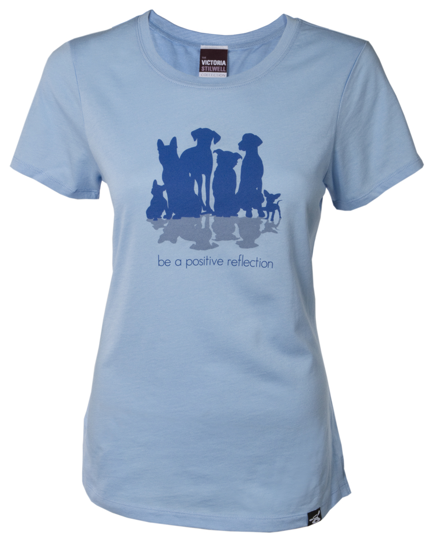 The new Be a Positive Reflection tee shirt in the Victoria Stilwell Collection by Dog is Good.