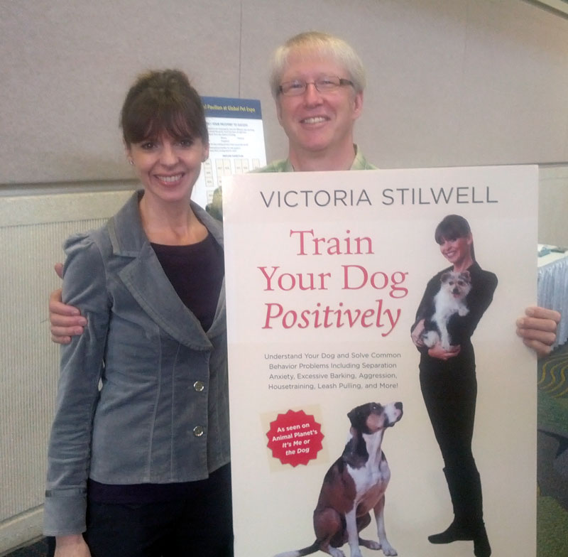 Victoria Stilwell promoting her new book, Train Your Dog Positively with Marty Becker at the Global Pet Expo.