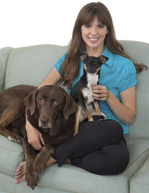 Victoria with her two rescue dogs, Sadie and Jasmine.