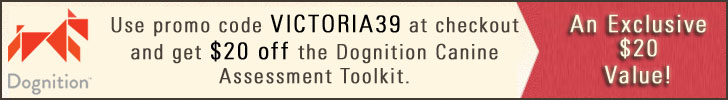 Get $20 off all Dognition products with promo code VICTORIA39 through March 2013.