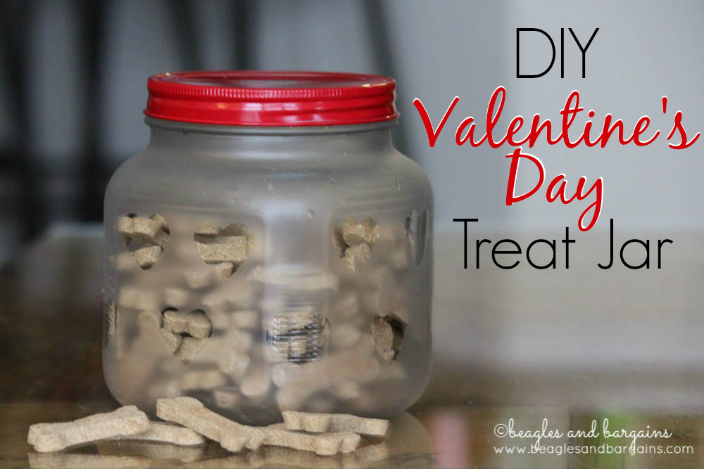 DIY Valentine's Day Treat Jar - Fun and easy way to show your dog some love!